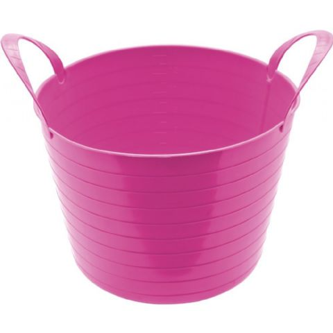 Round Plastic Carry Storage Tubs - Pink 3 Sizes
